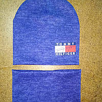 Комплект двойной ангоровый шапочка и снуд 6-10 лет.