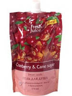 Гель для душа дой-пак Cranberry&Cane sugar 170 мл Fresh Juice