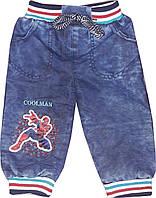 Джинсы для мальчика утепленные Человек Паук. Размер 80/86 (1-2 года).