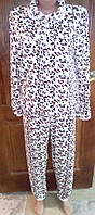 Пижама молодежная подростковая  женская Махра Зима Леопард размеров  от 38 до 44 , купить