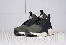 Мужские зимние кроссовки Nike Huarache Acronym Concept высокие Найк Аир Хуарачи Акроним хаки, фото 3