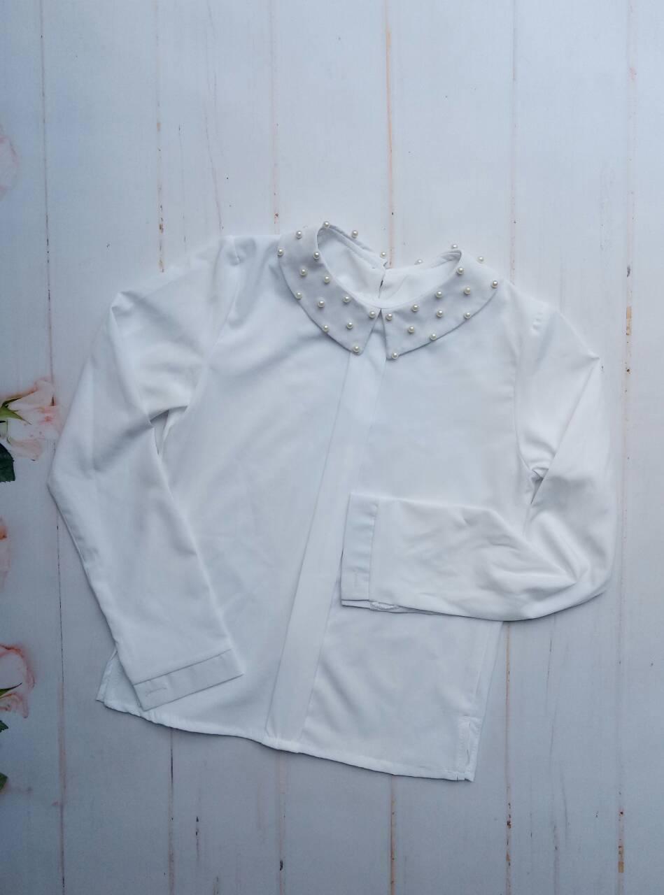 """Блузка для девочки """"Жемчужинка"""", р. 128-152, цвет белый"""