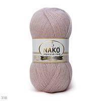 Пряжа Nako Angora Luks Simli розовый