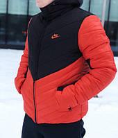 Мужская зимняя куртка Nike оранжевого и черного цвета (люкс копия)