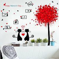 Інтер'єрна декоративна наліпка на стіну Закохані Коти / Интерьерная наклейка на стену Влюбленные Коты, XL8266