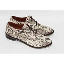 Туфли на низком ходу коричнево-золотого цвета под питон Арт. 05-6
