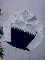 """Школьная блузка на девочку """"Розочка"""" ,р. 128-152, черная с белым"""