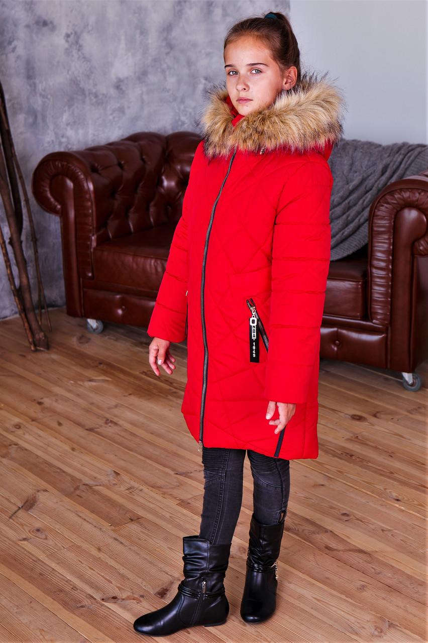 Зимнее стеганое пальто для девочки рост 117-153
