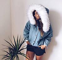 """Теплая джинсовая куртка с мехом внутри """"Хит сезона"""""""