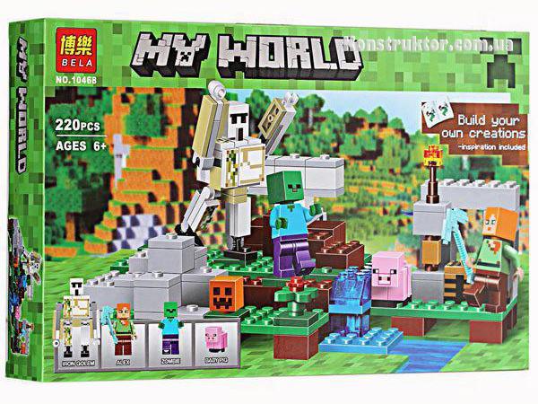 """Конструктор Bela 10468 """"Железный голем"""" Майнкрафт, 220 детали. Аналог Lego Minecraft 21123"""