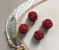 Бусина ажурная сплетение металла красная 17 мм