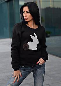 Свитшот из трикотажа утеплен флисом черного цвета с накатом зайца