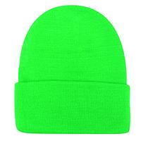 Шапка однотонная тёплая с отворотом зелёная