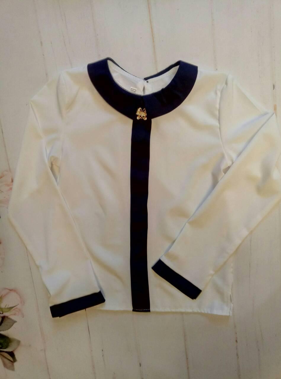 """Школьная блузка для девочки """"Леди"""", р. 128-152, цвет белый"""