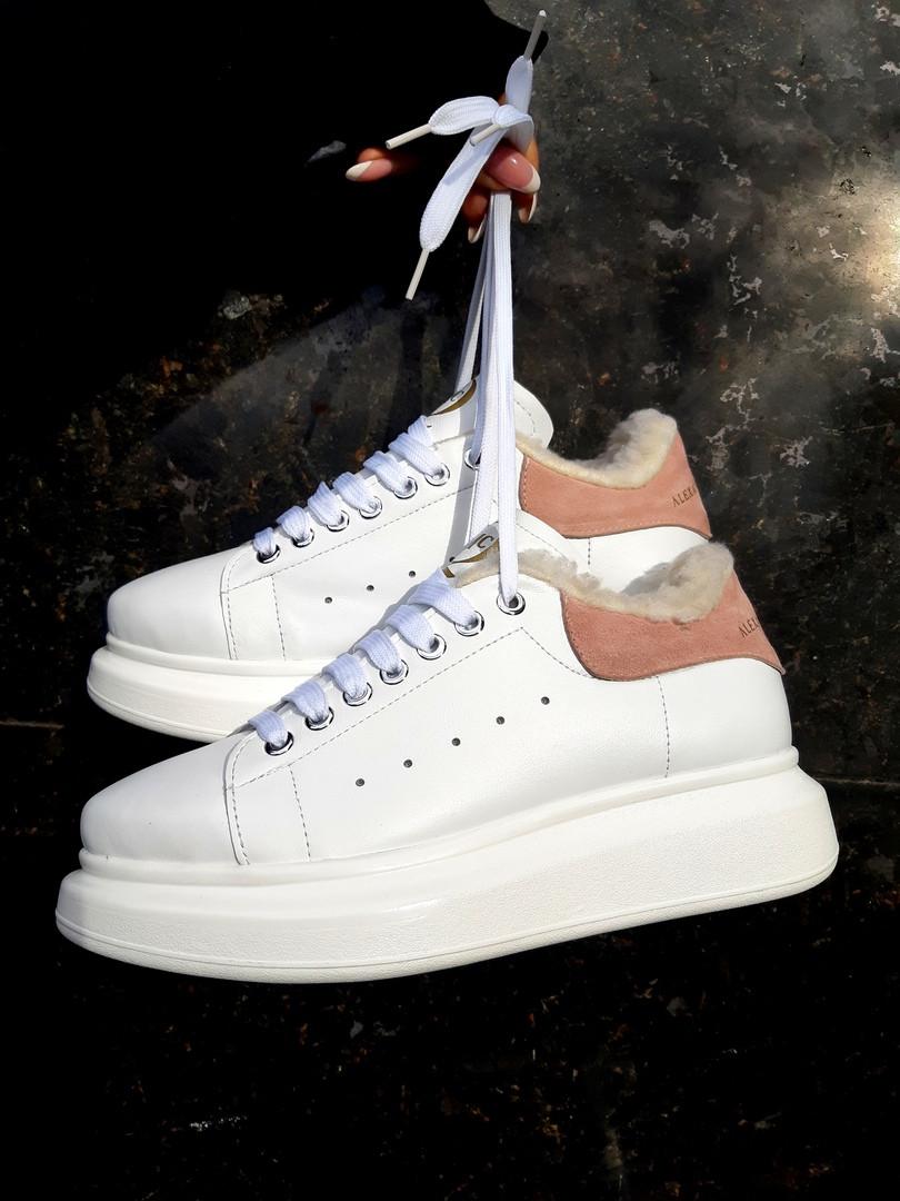 32f707a4369e Женские утепленные кроссовки на овчине в белом цвете из натуральной кожи:  ...