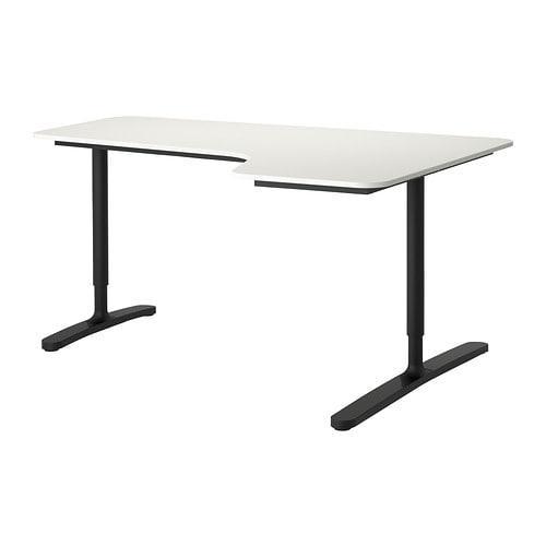 Ikea Bekant угловой письменный стол правый белый черный 160x110