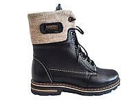 Женские зимние ботинки кожаные черные Topas 3134
