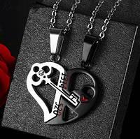 Парные кулоны для влюбленных Ключ в сердце the black