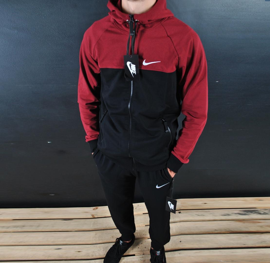 f9734f72 Мужской утепленный спортивный костюм на в стиле Nike Black\Red на замке
