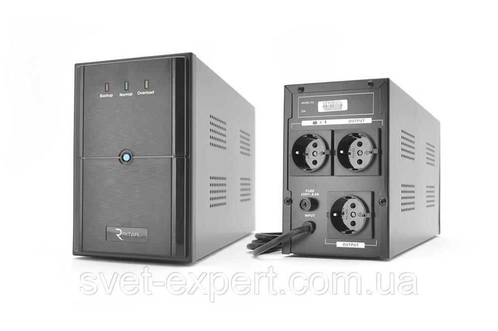ИБП Ritar E-RTM1000 (600W) ELF-L, LED, AVR, 3st, 3xSCHUKO socket, 2x12V7Ah, metal Case Q2 (405*195*285) 10 кг