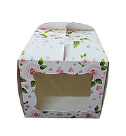 Тортовая упаковка 230*230*210 (мелованный картон принт Роза)