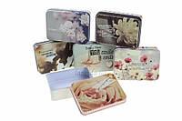 """(Цена за 6шт) Подарочная коробка жестяная """"Нежный цветок"""", тип: коробка, форма: прямоугольная, цвет: разноцветный, длина: 9.5 см, ширина: 6.8 см,"""