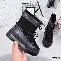 Луноходы угги женские Ferry черные ,  женская обувь