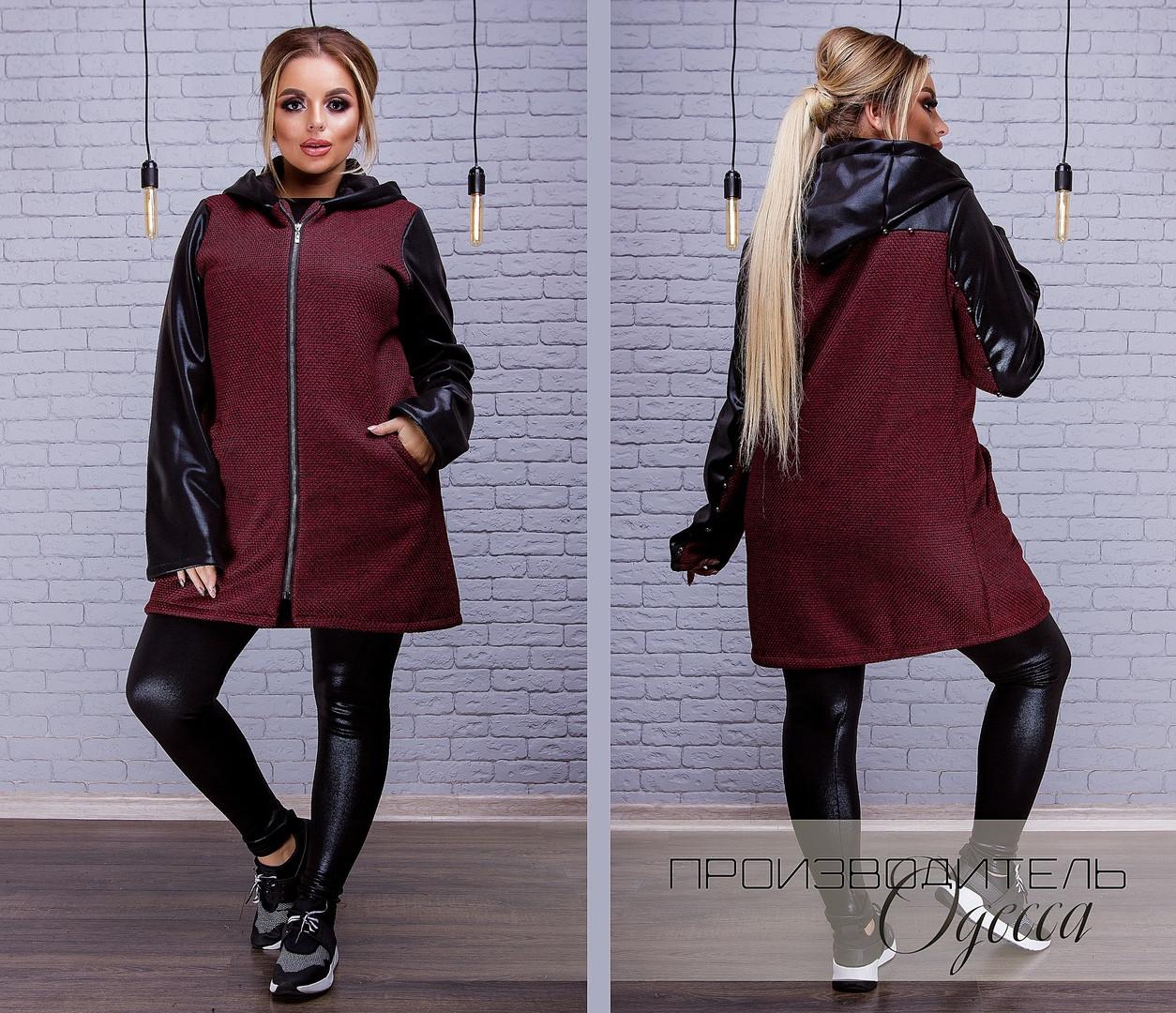 d481a1f146e9 Женское пальто букле комбинированное с экокожей