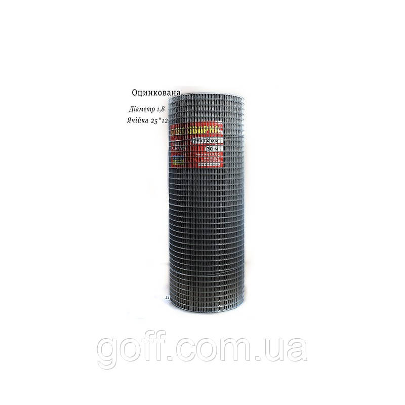 Оцинкованная сварная сетка 25х12х1.8мм 30мп
