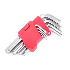 Набор Г-образных шестигранных ключей 9 шт., 1,5-10 мм, Cr-V INTERTOOL HT-0601