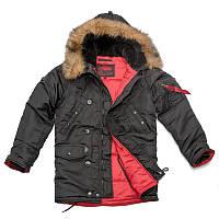 Парка Куртка зимняя летная Slim Fit Аляска N-3B Черная