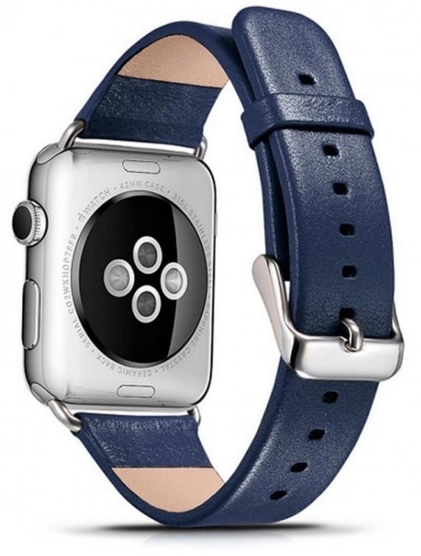Ремінець Icarer для Apple iWatch 42mm Luxury Genuine Leather ser. Синій