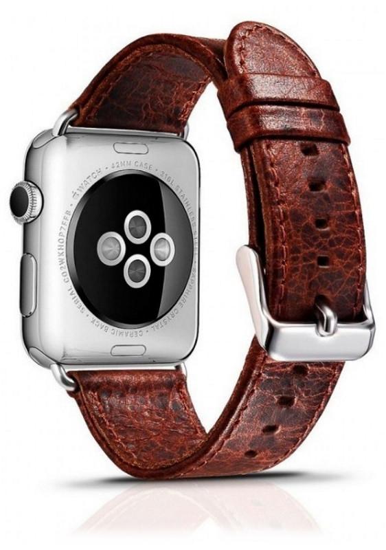 Ремешок Icarer для Apple iWatch 42mm Classic Genuine Leather ser.Темно-коричневый