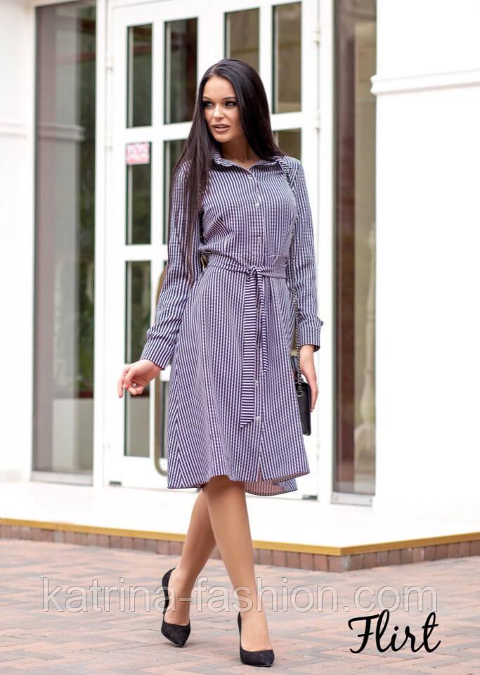 Женское стильное платье-рубашка длины миди с поясом (2 цвета)