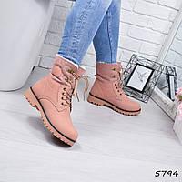 0499ff3d9cfa Зимние женские розовые ботинки Timber эконубук на шнуровке экомех