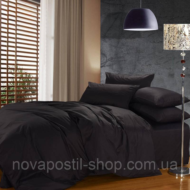 Комплект постельного белья сатин однотонный Black