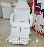 Кресло Кушетка для педикюра косметологическая на гидравлике с раздельной подножкой в белом цвете ZD-823А