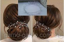 Длинная ветка для волос с кристаллами Белая прозрачная блестящая