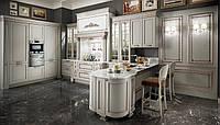 Кухня на замовлення біла з патиною мідь BLUM-070