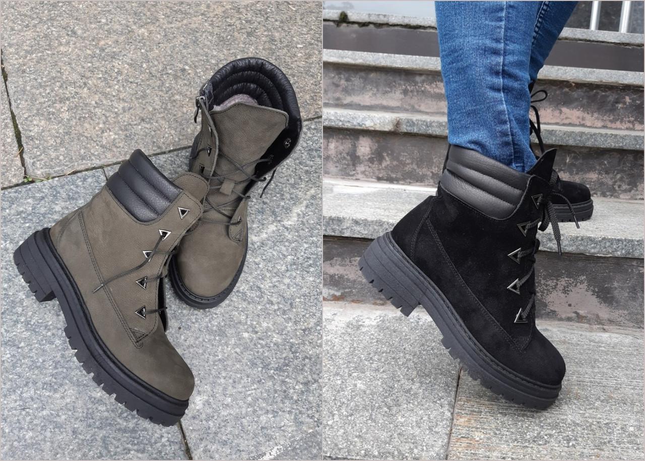 Теплые женские ботинки из натуральных материалов в черном и хаки цветах