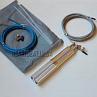 Скоростная скакалка KETIA Silver (алюминиевые ручки, запасной кабель)