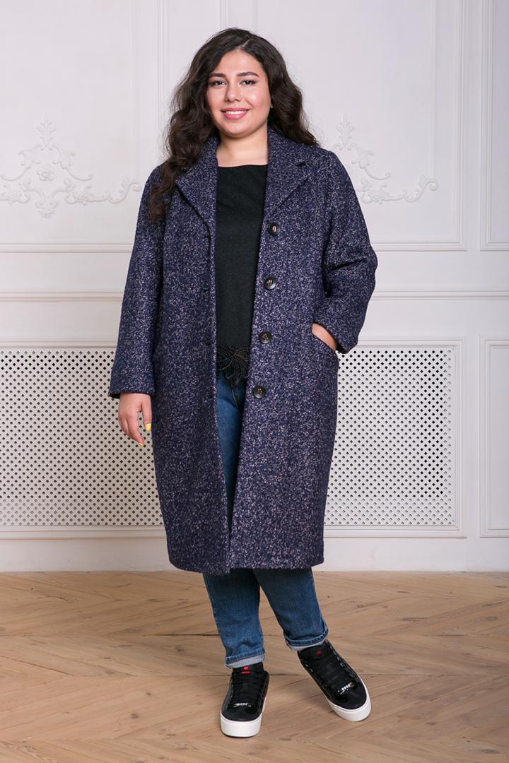 Прямое Пальто женское  из букле МИРИАМ серо-голубое