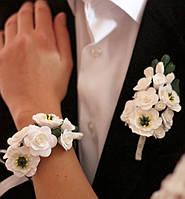 """Свадебный комплект украшений """"Эустомы с розами""""(бутоньерка + браслет), фото 1"""