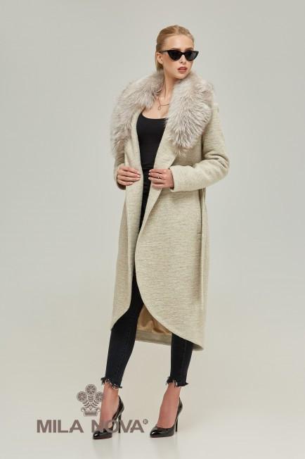 2d2f6fac613 Зимнее женское пальто с мехом чернобурки (бежевое)  продажа