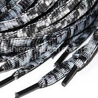 Шнурок 9мм, 130см, плоский комбинированный белый и черный