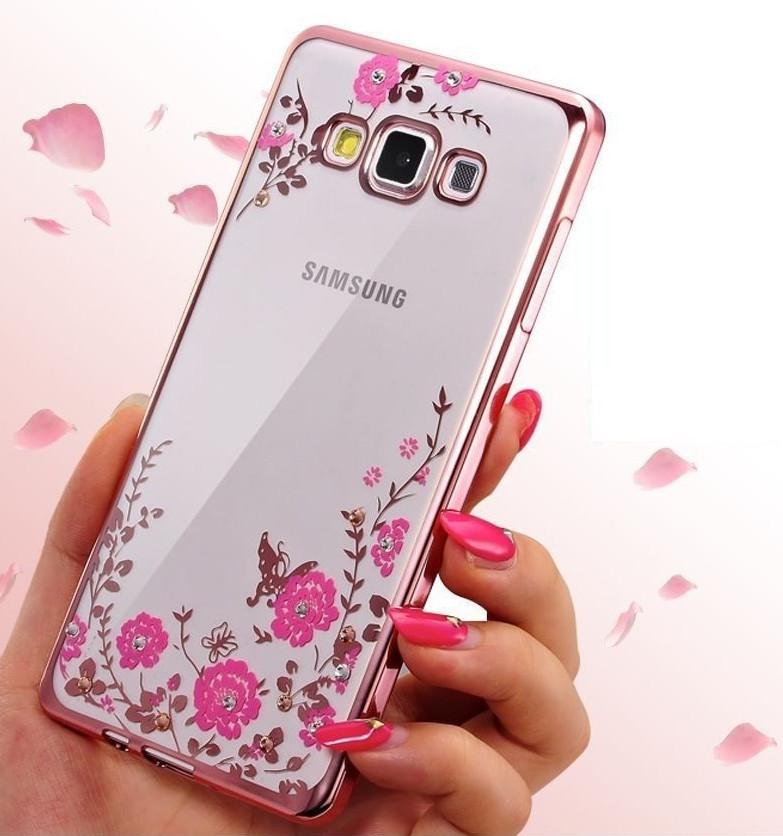 Силиконовый чехол с цветами и стразами для Samsung Galaxy A5/A510 (2016)