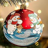 """Украшение новогоднее шар 100 мм """"Снеговички с птичками"""", фото 1"""
