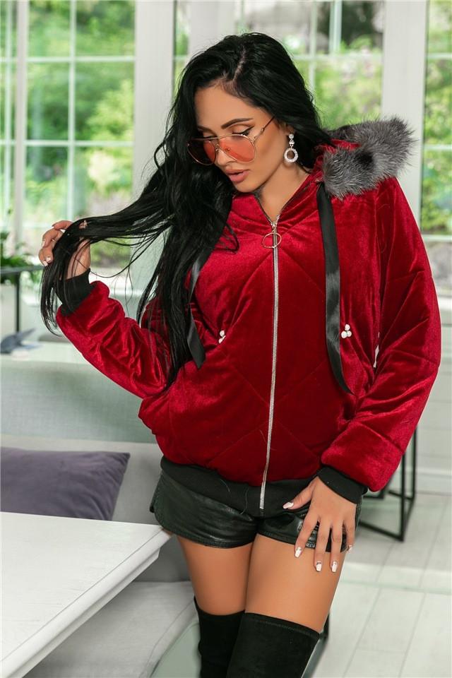 Женская Куртка, цвет - Бордо (141)708-2. (3 цвета) Ткань: королевский бархат+ сентипон + подкладка + жемчуг +мех. Размеры: 44, 46, 48, 50.