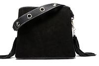 Красивая женская сумка черного цвета с кисточками и тремя отделами, короткая и длинная ручка