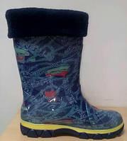 Гумові чоботи дитячі зі вставками фліс b98263b8bb149
